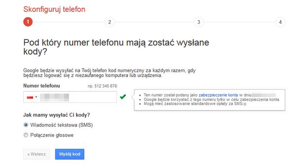 Weryfikacja dwuetapowa numer telefonu