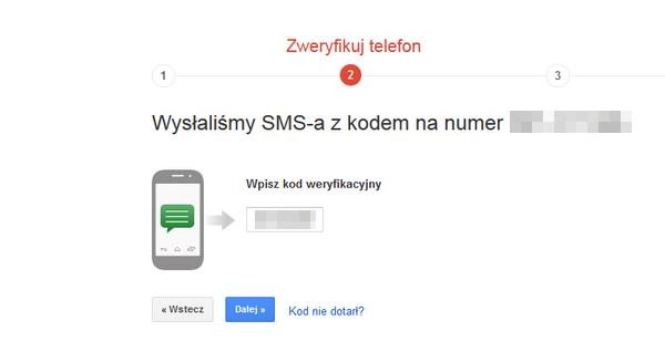Weryfikacja dwuetapowa zweryfikowanie telefonu